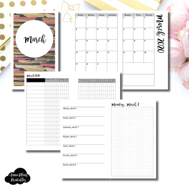 B6 Slim TN Size | MAR 2020 | Month/Weekly/Daily GRID (Monday Start) Printable Insert ©