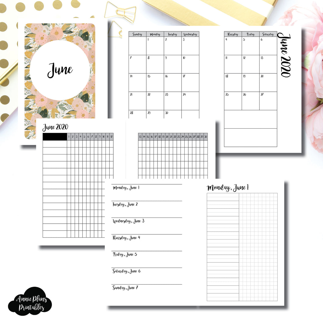 Pocket Plus Rings Size | JUN 2020 | Month/Weekly/Daily UNTIMED (Monday Start) Printable Insert ©