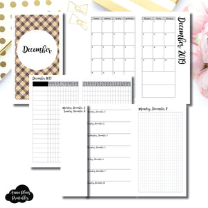Personal TN Size | DEC 2019 | Month/Weekly/Daily GRID (Monday Start) Printable Insert ©