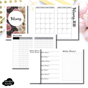 Pocket TN Size | FEB 2020 | Month/Weekly/Daily GRID (Monday Start) Printable Insert ©