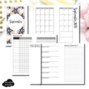 Personal Rings Size | SEP 2019 | Month/Weekly/Daily GRID (Monday Start) Printable Insert ©