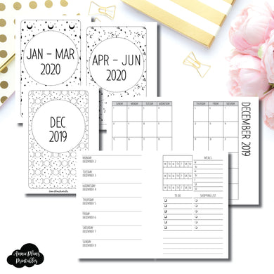 Pocket Plus Rings Size | DEC 2019 - JUNE 2020 | Week on 1 Page (Monday Week Start) With Trackers + Lists Printable Insert ©