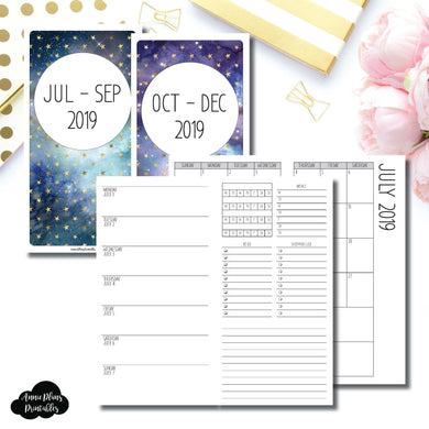 Standard TN Size | JUL - SEP & OCT - DEC 2019 | Week on 1 Page (Monday Week Start) With Trackers + Lists Printable Insert ©