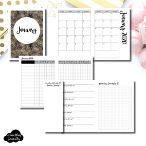 A6 TN Size | JAN 2020 | Month/Weekly/Daily GRID (Monday Start) Printable Insert ©