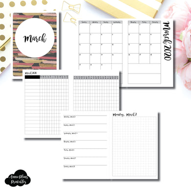 B6 TN Size | MAR 2020 | Month/Weekly/Daily GRID (Monday Start) Printable Insert ©