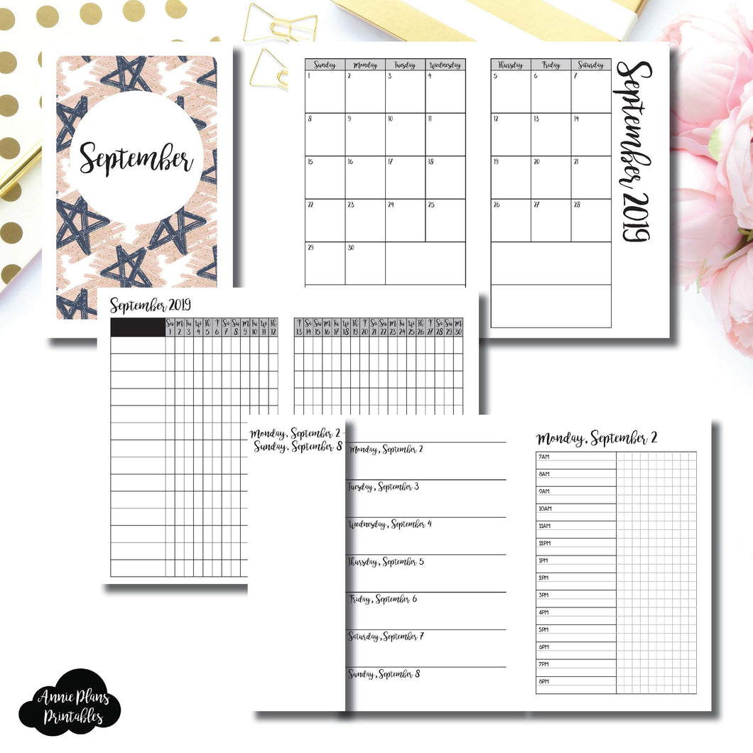 Pocket TN Size | SEP 2019 | Month/Weekly/Daily TIMED (Monday Start) Printable Insert ©