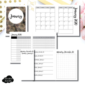 Micro TN Size | JAN 2020 | Month/Weekly/Daily GRID (Monday Start) Printable Insert ©