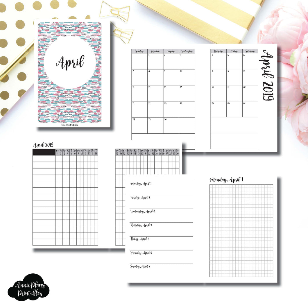 A6 Rings Size | APR 2019 | Month/Weekly/Daily GRID (Monday Start) Printable Insert ©