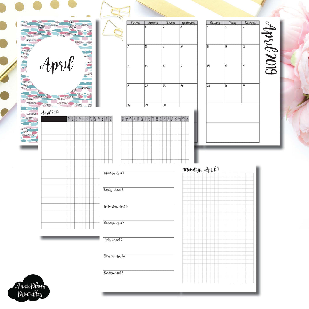 Cahier TN Size | APR 2019 | Month/Weekly/Daily GRID (Monday Start) Printable Insert ©
