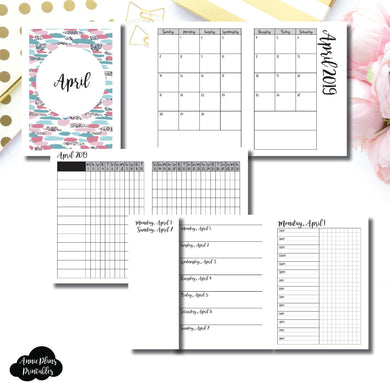 Passport TN Size | APR 2019 | Month/Weekly/Daily TIMED (Monday Start) Printable Insert ©