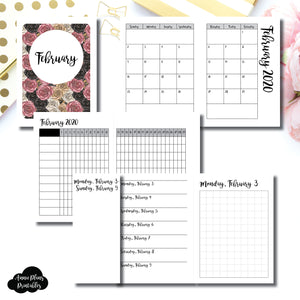 Micro TN Size | FEB 2020 | Month/Weekly/Daily GRID (Monday Start) Printable Insert ©