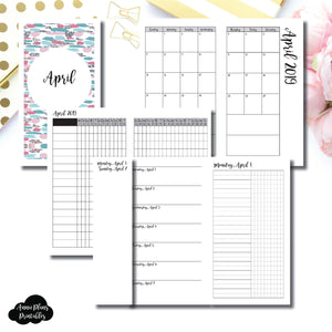 Personal TN Size | APR 2019 | Month/Weekly/Daily UNTIMED (Monday Start) Printable Insert ©