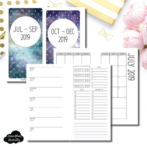 Personal Rings Size | JUL - SEP & OCT - DEC 2019 | Week on 1 Page (Monday Week Start) With Trackers + Lists Printable Insert ©