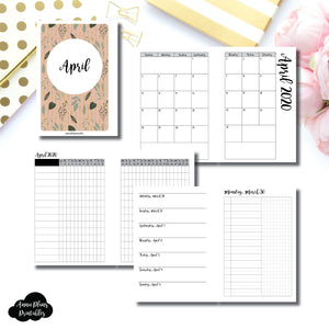 A6 Rings Size | APR 2020 | Month/Weekly/Daily UNTIMED (Monday Start) Printable Insert ©