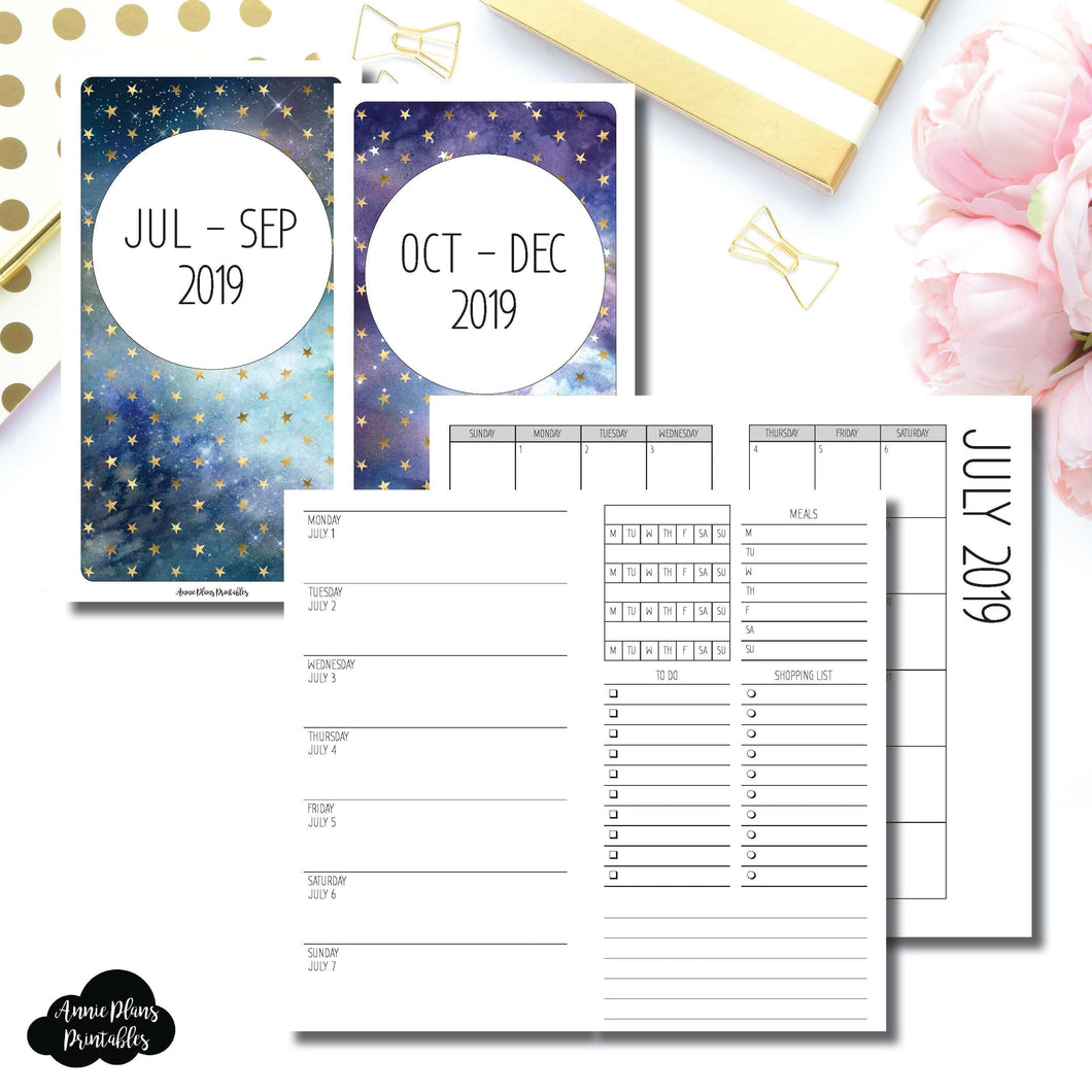 Personal TN Size | JUL - SEP & OCT - DEC 2019 | Week on 1 Page (Monday Week Start) With Trackers + Lists Printable Insert ©
