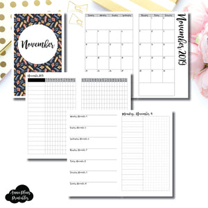 Cahier TN Size | NOV 2019 | Month/Weekly/Daily UNTIMED (Monday Start) Printable Insert ©