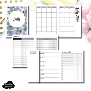 A6 TN Size | JUL 2019 | Month/Weekly/Daily TIMED (Monday Start) Printable Insert ©