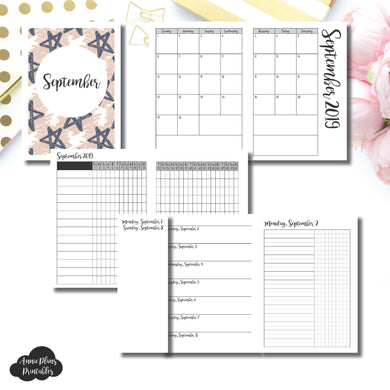 A6 TN Size | SEP 2019 | Month/Weekly/Daily UNTIMED (Monday Start) Printable Insert ©