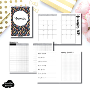 A6 Rings Size | NOV 2019 | Month/Weekly/Daily GRID (Monday Start) Printable Insert ©