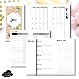Personal Rings Size | JUN 2020 | Month/Weekly/Daily GRID (Monday Start) Printable Insert ©