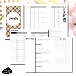 Personal Rings Size | DEC 2019 | Month/Weekly/Daily GRID (Monday Start) Printable Insert ©