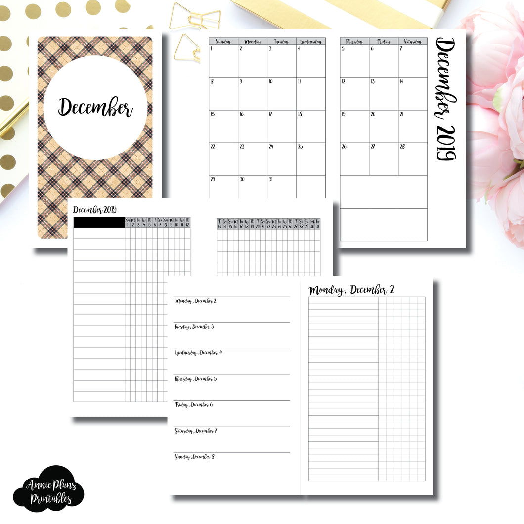 B6 SLIM TN Size | DEC 2019 | Month/Weekly/Daily UNTIMED (Monday Start) Printable Insert ©