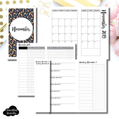Personal TN Size | NOV 2019 | Month/Weekly/Daily UNTIMED (Monday Start) Printable Insert ©