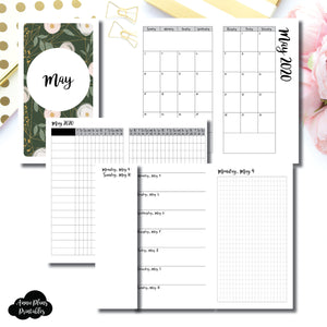 Personal TN Size | MAY 2020 | Month/Weekly/Daily GRID (Monday Start) Printable Insert ©
