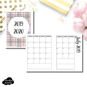 B6 Rings Size | 2019 - 2020 Academic Monthly Calendar (SUNDAY Start) PRINTABLE INSERT ©