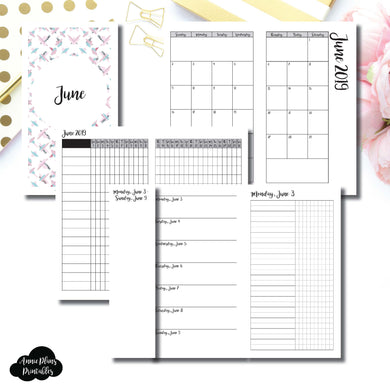 Personal TN Size | JUN 2019 | Month/Weekly/Daily UNTIMED (Monday Start) Printable Insert ©