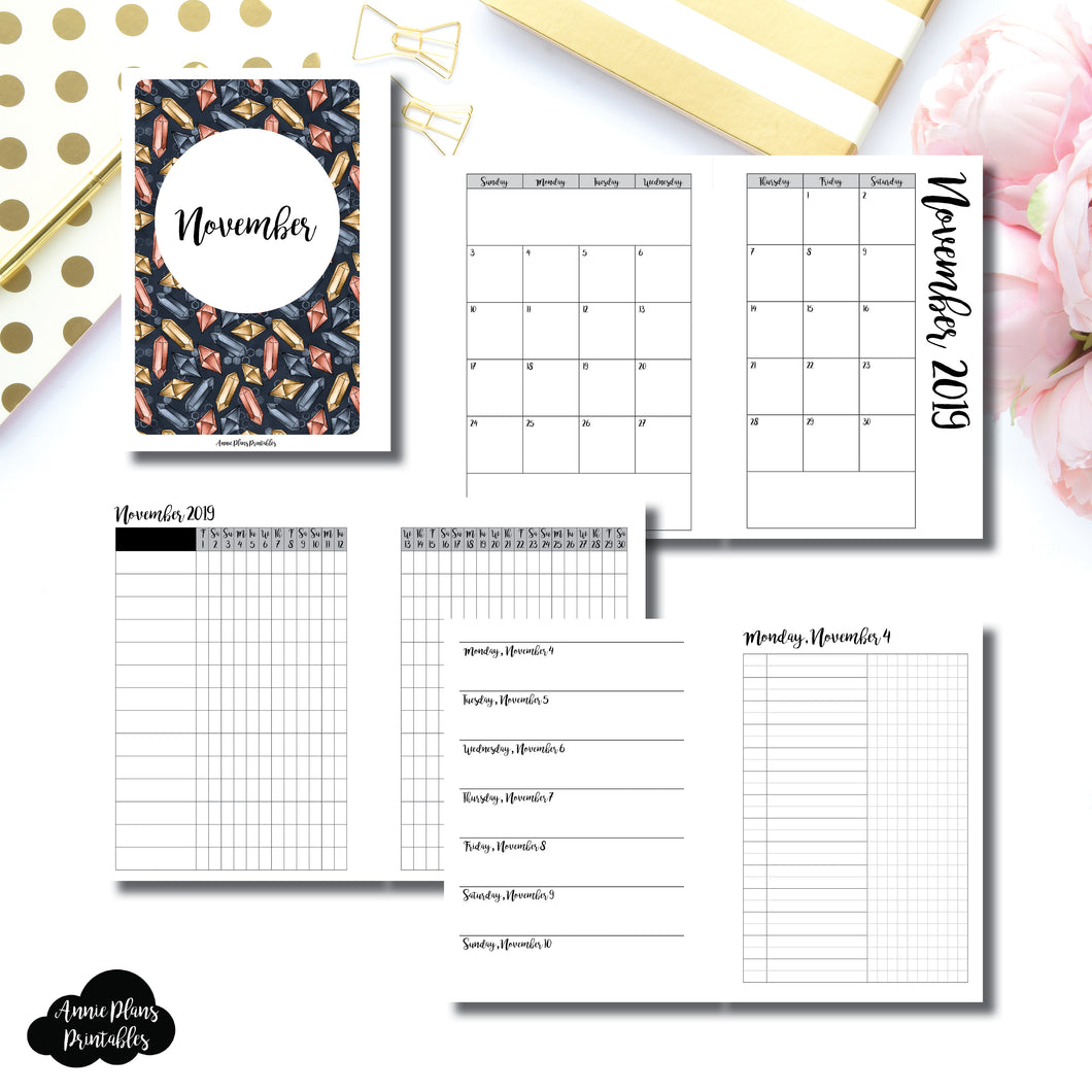 A6 Rings Size | NOV 2019 | Month/Weekly/Daily UNTIMED (Monday Start) Printable Insert ©