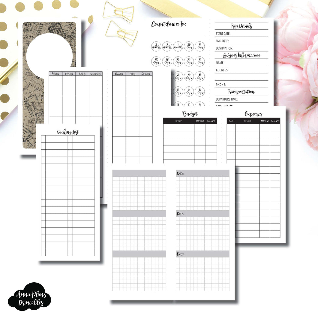 H Weeks Size | Vacation Planning Printable Insert ©