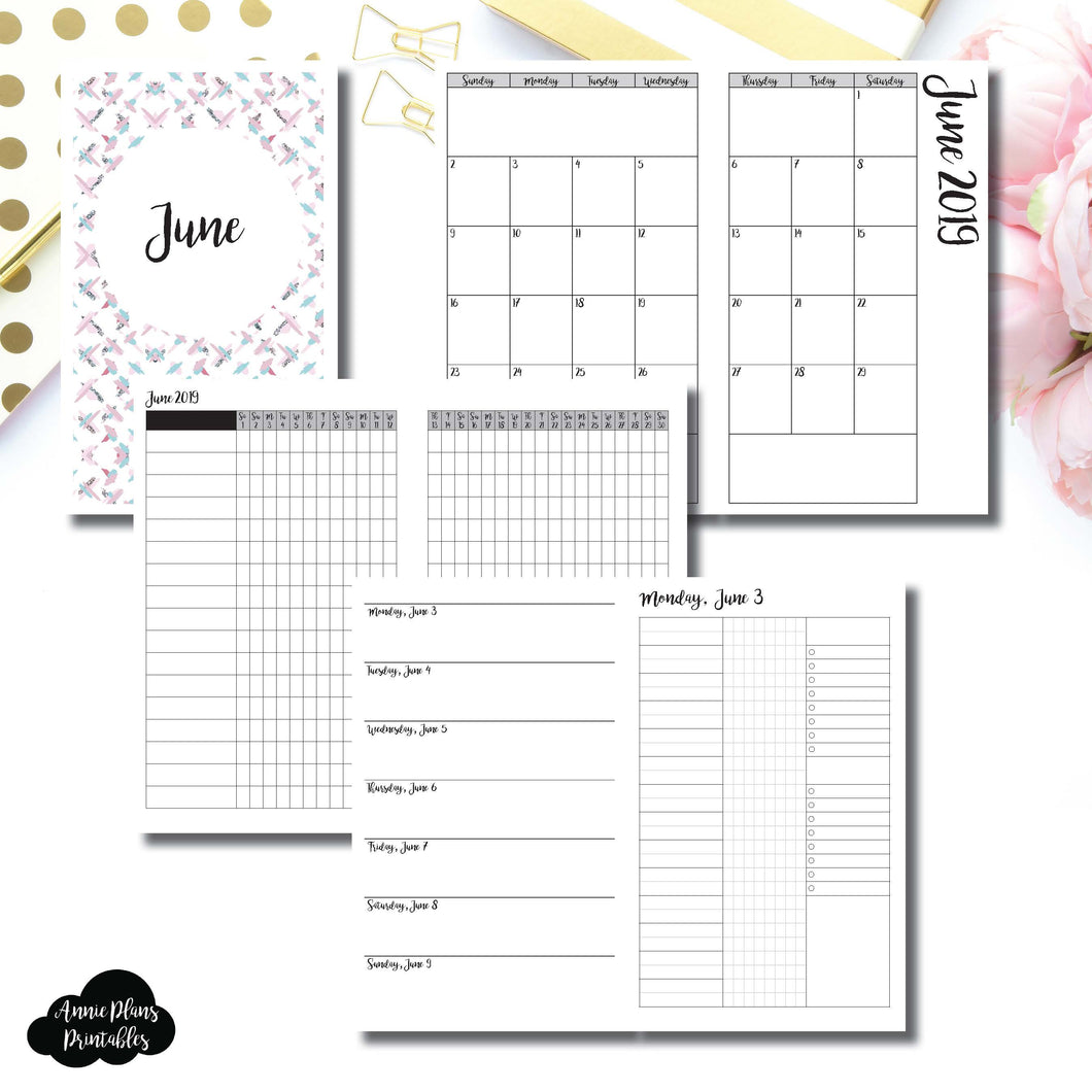 Cahier TN Size | JUN 2019 | Month/Weekly/Daily 3 COLUMN UNTIMED (Monday Start) Printable Insert ©