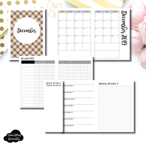 A6 TN Size | DEC 2019 | Month/Weekly/Daily GRID (Monday Start) Printable Insert ©