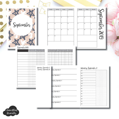 A6 TN Size | SEP 2019 | Month/Weekly/Daily TIMED (Monday Start) Printable Insert ©