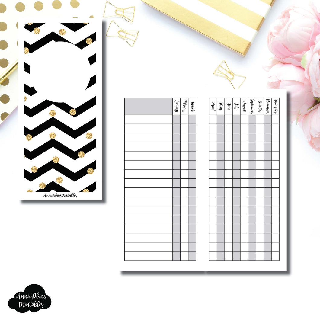 H Weeks Size | 12 Month Checklist Tracker Printable Insert ©