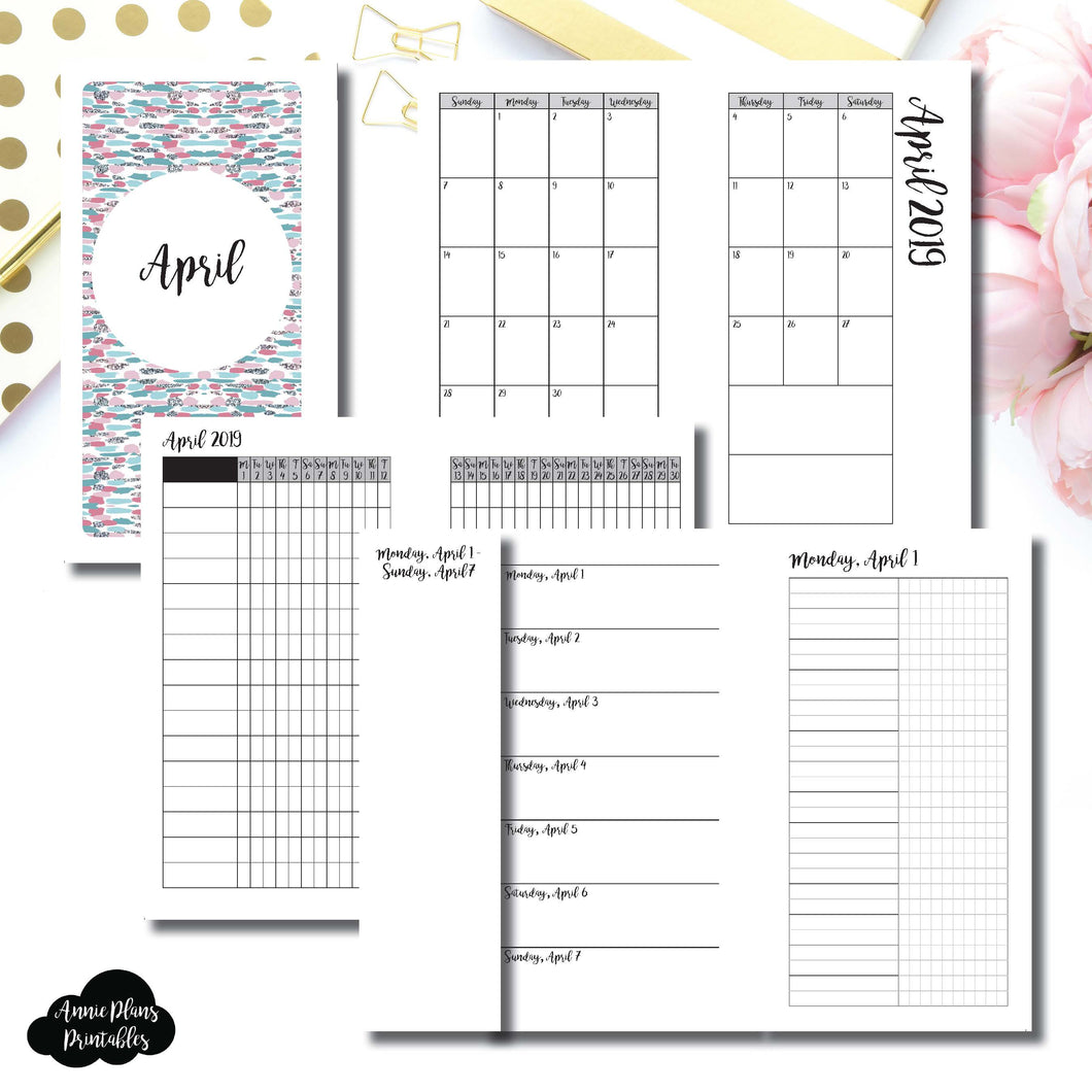 Personal Rings Size | APR 2019 | Month/Weekly/Daily UNTIMED (Monday Start) Printable Insert ©