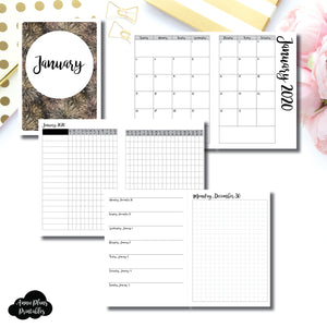 B6 TN Size | JAN 2020 | Month/Weekly/Daily GRID (Monday Start) Printable Insert ©