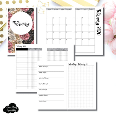 B6 Slim TN Size | FEB 2020 | Month/Weekly/Daily GRID (Monday Start) Printable Insert ©
