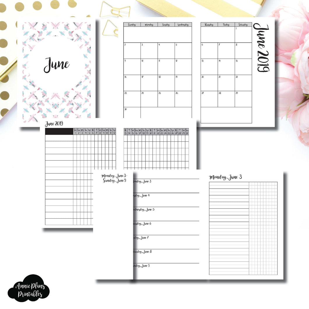 A6 TN Size | JUN 2019 | Month/Weekly/Daily UNTIMED (Monday Start) Printable Insert ©
