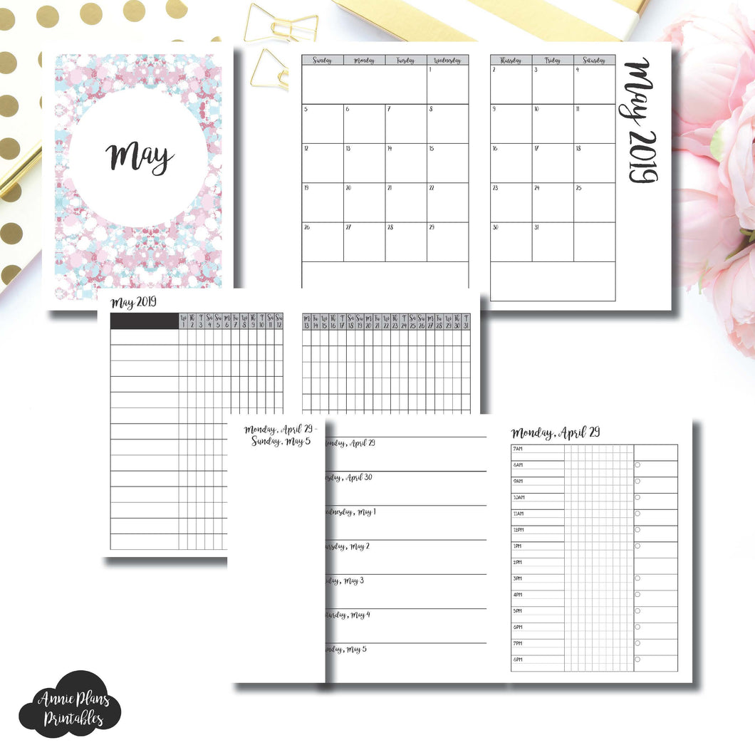A6 TN Size | MAY 2019 | Month/Weekly/Daily 3 COLUMN TIMED (Monday Start) Printable Insert ©