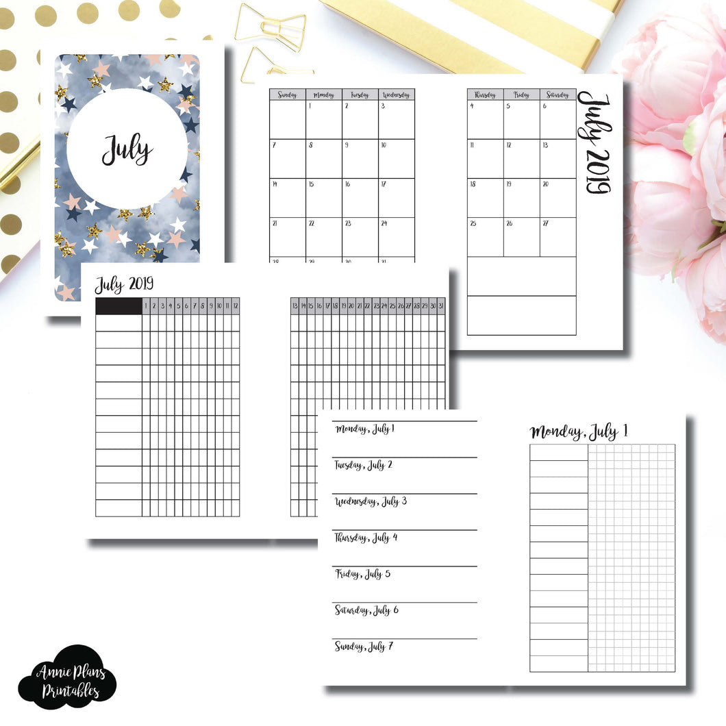 Pocket Rings Size | JUL 2019 | Month/Weekly/Daily UNTIMED (Monday Start) Printable Insert ©