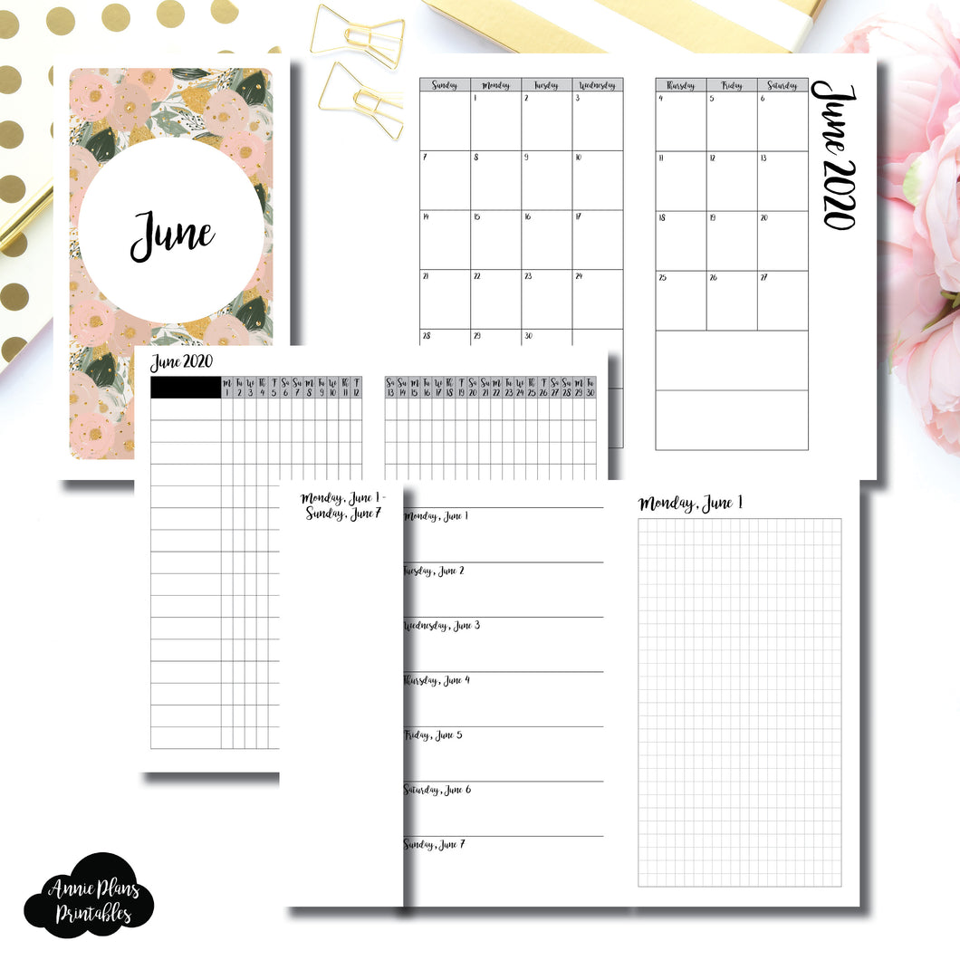 Personal TN Size | JUN 2020 | Month/Weekly/Daily GRID (Monday Start) Printable Insert ©