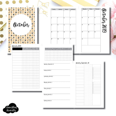 Half Letter Rings Size | OCT 2019 | Month/Weekly/Daily 3 COLUMN UNTIMED (Monday Start) Printable Insert ©