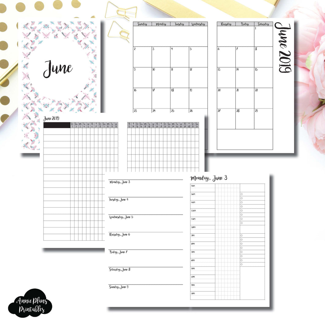 Cahier TN Size | JUNE 2019 | Month/Weekly/Daily 3 COLUMN TIMED (Monday Start) Printable Insert ©