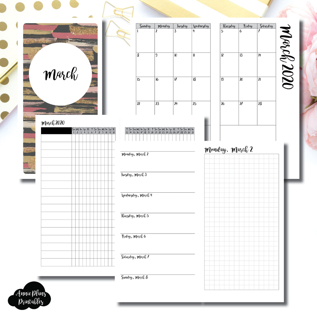 Standard TN Size | MAR 2020 | Month/Weekly/Daily GRID (Monday Start) Printable Insert ©