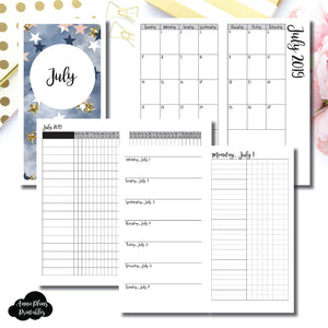 Standard TN Size | JUL 2019 | Month/Weekly/Daily UNTIMED (Monday Start) Printable Insert ©