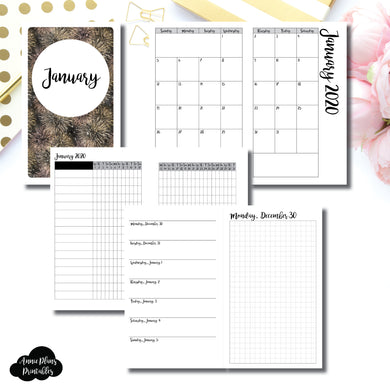 B6 Slim TN Size | JAN 2020 | Month/Weekly/Daily GRID (Monday Start) Printable Insert ©