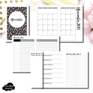 Pocket TN Size | NOV 2019 | Month/Weekly/Daily UNTIMED (Monday Start) Printable Insert ©