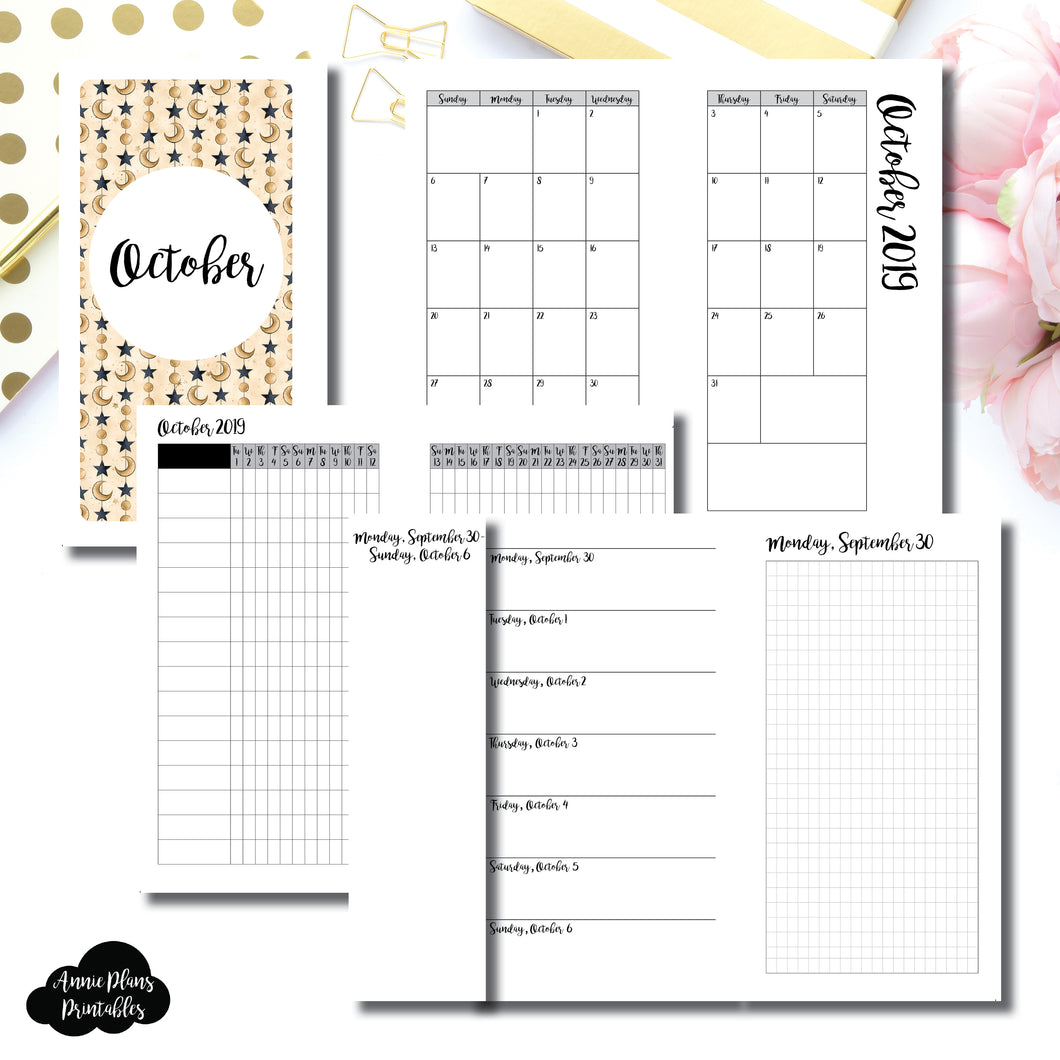Personal Rings Size | OCT 2019 | Month/Weekly/Daily GRID (Monday Start) Printable Insert ©